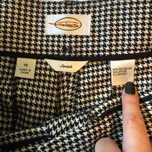 TALBOTS houndstooth wide leg flannel cuffed pant